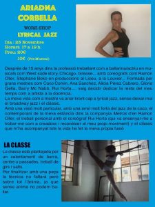 Workshop amb Ariadna Corbella estil LYRICAL JAZZ